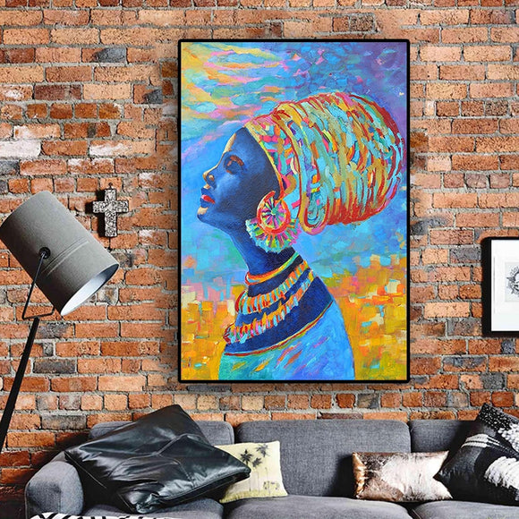 African Woman Portrait Abstract Oil Painting on Canvas Street Art Scandinavian Posters and Prints