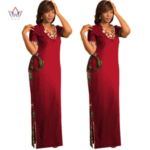 African Clothes for Women Short Sleeve Maxi Dresses Straight Dress Print Dashiki Long Dress