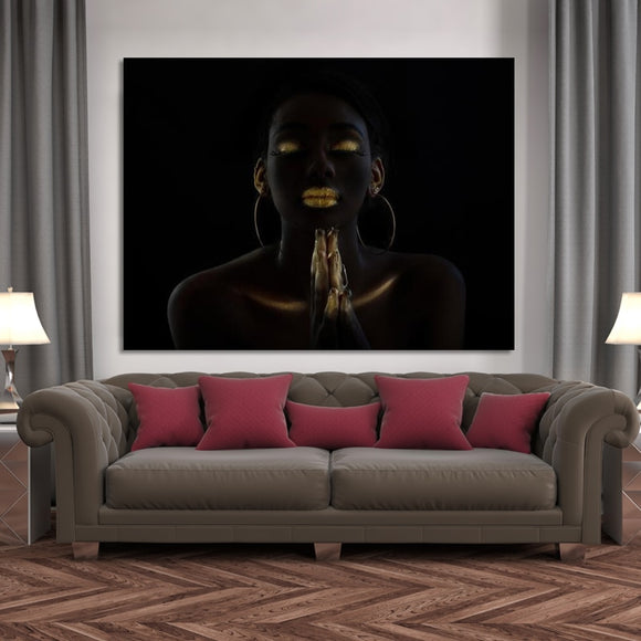 Black African Make-up Praying Woman Oil Painting on Canvas Posters and Prints