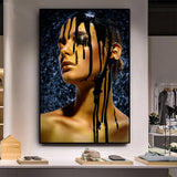 Black & Gold  African Nude Contemplative Woman Oil Painting on Canvas Posters and Prints