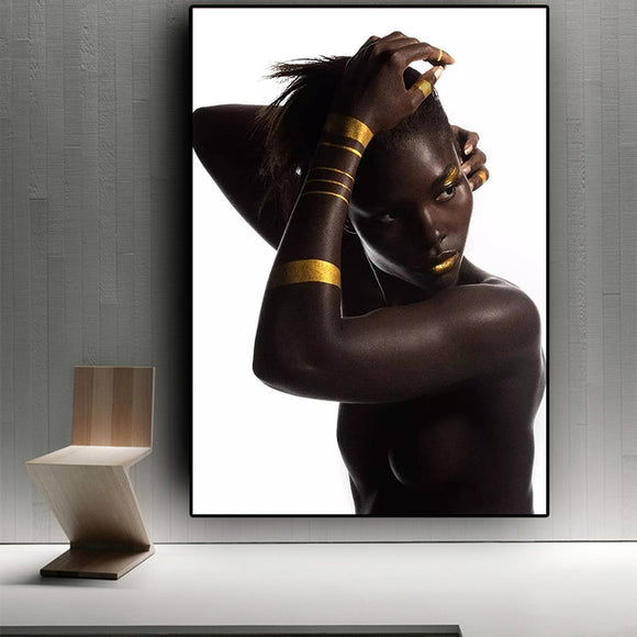 Black Gold African Nude Woman Oil Painting on Canvas Posters and Prints Wall Art Picture for living room