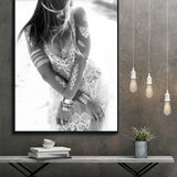 Black White Fallen angel Posters and Prints Modern Girl Canvas Painting