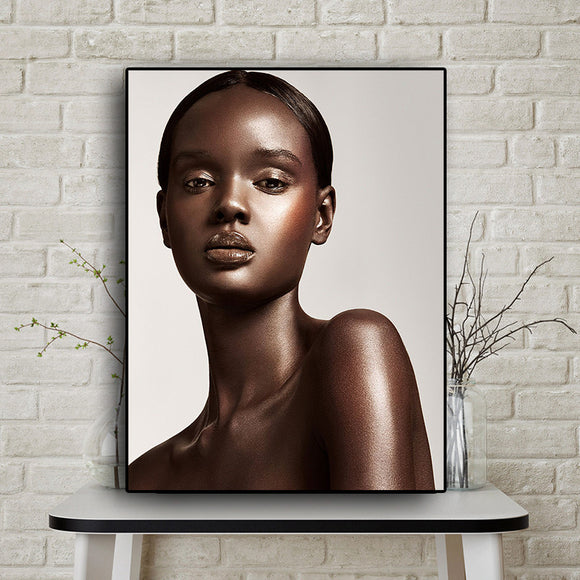 Black and Gold Nude African Sexy Woman Scandinavian Canvas Painting Posters and Prints
