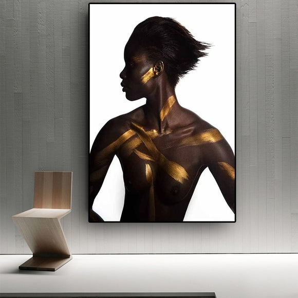 Black and Gold Nude African Woman Oil Painting on Canvas Cuadros Posters and Prints