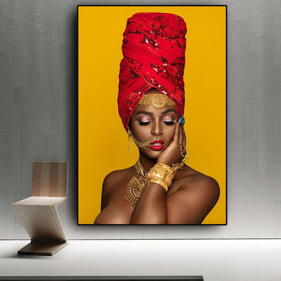 Black and Gold Sexy Lips Nude African Art Woman Oil Painting on Canvas Prints