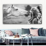 Black and White Native Indian with Horse Portrait Canvas Art Scandinavian Poster Print