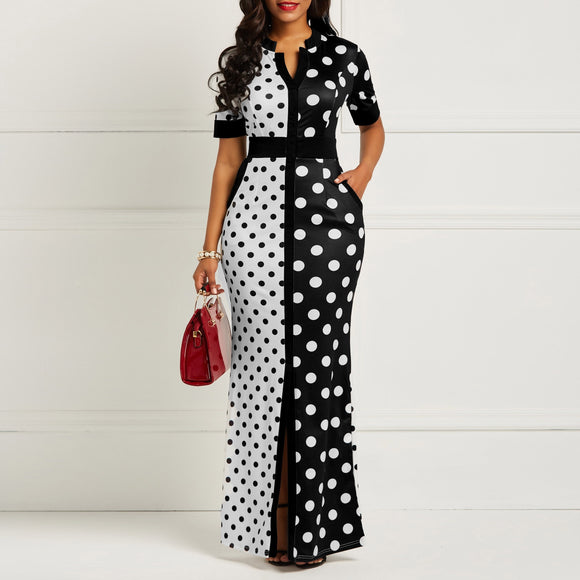 African Dress Vintage Polka Dot White Black Printed Retro Bodycon Women Summer Short Sleeve maxi Dress