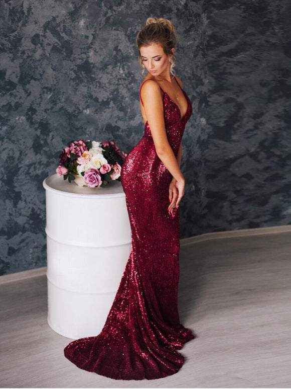 Deep V Neck Burgundy Sequin Maxi Dress Stretch Padded Floor Length Mermaid Dress Backless Wine Red