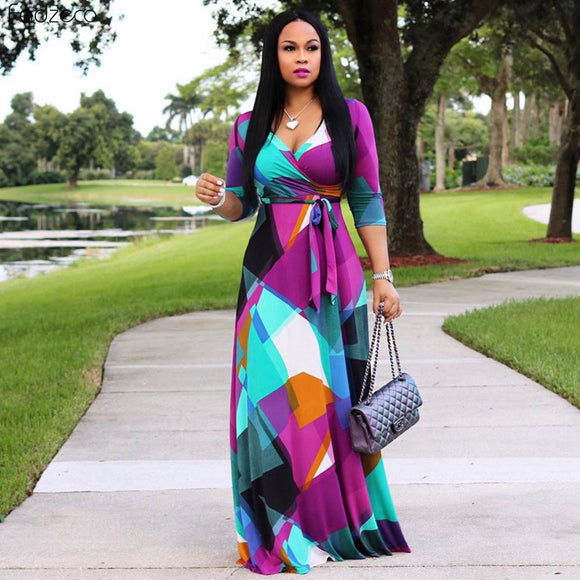 African Dresses For Women Long Dress Long Sleeve Nigerian Traditional Clothing Floral