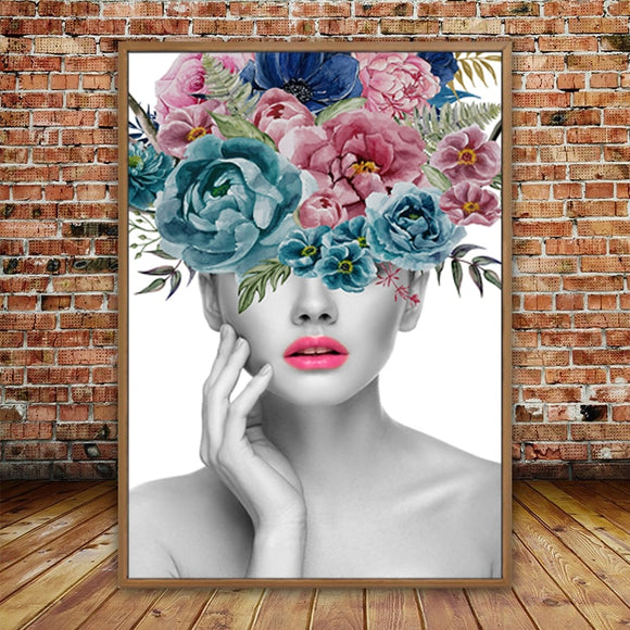 Beautiful Woman Portrait and Flower Canvas Paintings Wall Canvas Art Pictures Poster Print