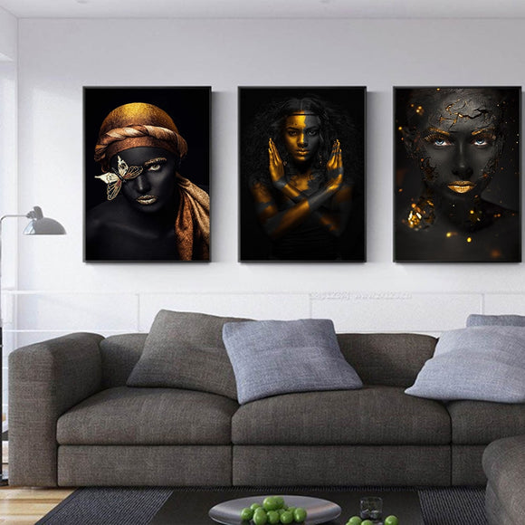 Modern Black-Skinned Women Pictures Gold Wall Art Canvas Painting Posters Living Room