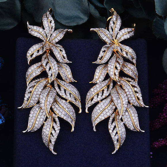 80mm Luxury Exclusive Leaf design Cubic Zirconia African Wedding Jewelry
