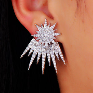 Costume Jewelry Rhodium Plated Star Shaped Stud Earrings For Women