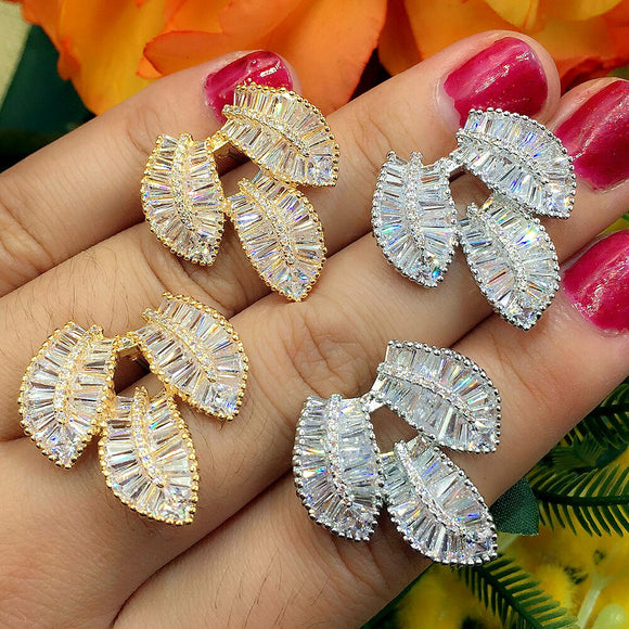 Elegant 3 Leaves Leaf Design Clear Cubic Zirconia Women Engagement Earrings Studs