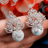 Imitation Pearl Leaf Collection Full Micro Cubic Zirconia Pave Women Bridal Engagement Earring