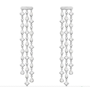 Luxury Trendy Long Geometry Tassels Drop Full Mirco Paved Cubic Zirconia Engagement Drop Earring