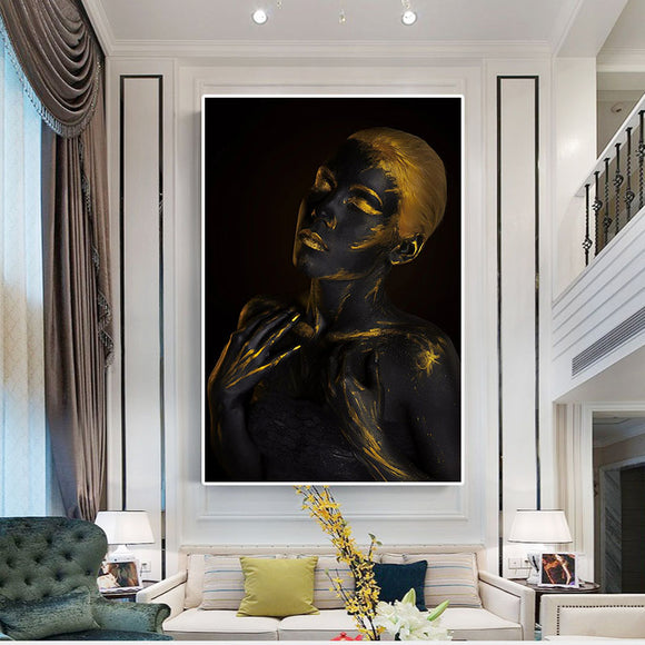 Golden Fashion Black African Nude Woman Oil Painting on Canvas Posters and Prints for living room