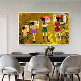 Sisters Graffiti Oil Canvas Painting Posters Pictures Decorative Oil Paintings Art Wall Posters for Home Decoration