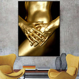 HD Print and spray painting Gold Plated Human body Modern ornamental frame-less  Wall Art