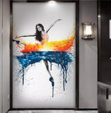 1 Piece Elegant Dancing Ballerina Oil Painting Abstract Ballet Girl Wall Art Large Canvas Painting Multi Color