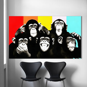 Animal Canvas Art Oil Painting Pop Art Funny Chimps Wall Pictures For Living Room