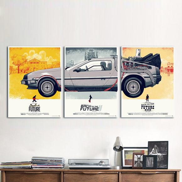 Canvas Art Movie Poster 3 Pieces Back to the Future Phantom City Painting Home Decor