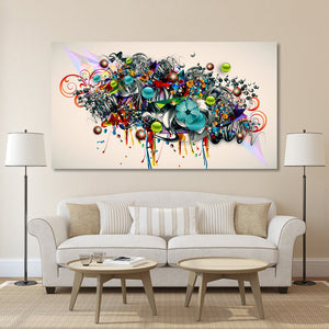 Graffiti Canvas Art Blossomed Flowers Painting Modern Wall Pictures For Living Room