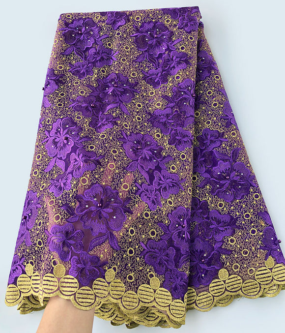 Purple Gold embroidery genuine french lace Swiss lace African tulle fabric 5 yards/pc