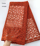 Orange soft African cord lace fabric Nigerian Garment cloth High quality