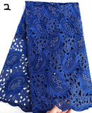 Blue 5 yards Hand cut African lace fabric beautiful Nigeria garment sewing lace fabric with lots of stones