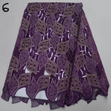 Purple 5 yards High quality hand cut African lace fabric with sequins and stones