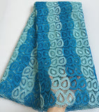 Blue soft African cord lace fabric Nigerian Garment cloth High quality