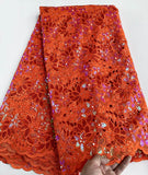 Orange 5 yards Hand cut lace fabric, African organza lace with lots of sequins, high quality