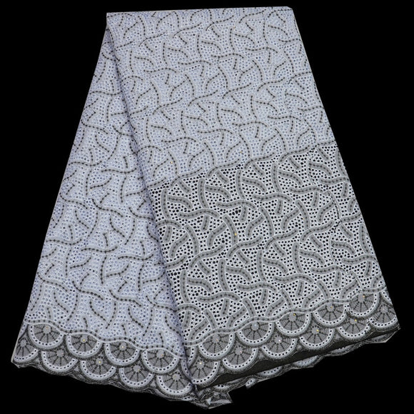 White 5 yards high quality African dry cotton lace fabric for men and women dress