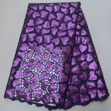 Purple 5 yards High quality hand cut African organza lace fabric sequin embroidery
