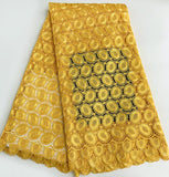 Yellow Heavy African Guipure Lace Cord Lace fabric 5 Yards
