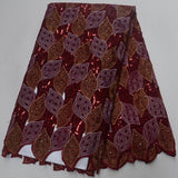Brown 5 yards High quality hand cut African lace fabric with sequins and stones