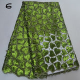 Lemon green 5 yards High quality hand cut African organza lace fabric sequin embroidery