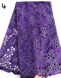 Purple 5 yards Hand cut African lace fabric beautiful Nigeria garment sewing lace fabric with lots of stones