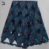 Teal 5 yards High quality hand cut African lace fabric with sequins and stones