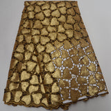 Golden 5 yards High quality hand cut African organza lace fabric sequin embroidery