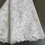 White 5 yards Hand cut lace fabric, African organza lace with lots of sequins, high quality