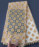 Beige soft African cord lace fabric Nigerian Garment cloth High quality