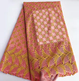 Orange 5 yards embroidered Guipure lace