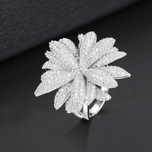 Luxury Fireworks Daisy Flowers Cubic Zironia CZ Ring For Women