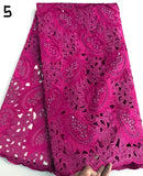 Pink 5 yards Hand cut African lace fabric beautiful Nigeria garment sewing lace fabric with lots of stones