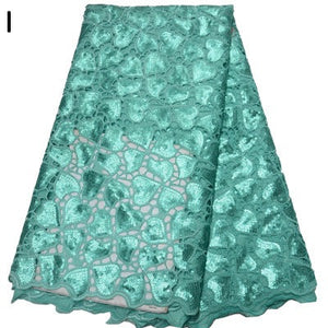 Green 5 yards High quality hand cut African organza lace fabric sequin embroidery