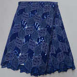 Blue 5 yards High quality hand cut African lace fabric with sequins and stones