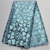 Teal 5 yards High quality hand cut African organza lace fabric sequin embroidery