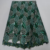 Green 5 yards High quality hand cut African lace fabric with sequins and stones